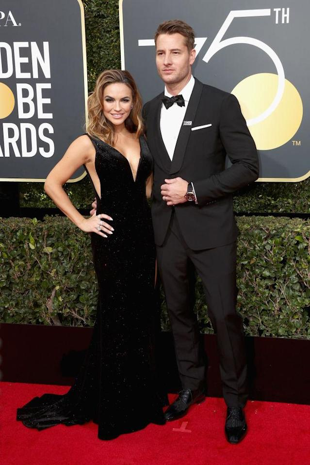 <p>The <em>This Is Us</em> actor and his new bride, actress Chrishell Stause, attends the 75th Annual Golden Globe Awards at the Beverly Hilton Hotel in Beverly Hills, Calif., on Jan. 7, 2018. (Photo: Steve Granitz/WireImage) </p>