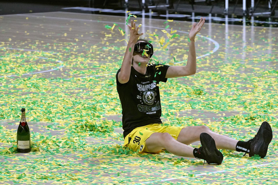Seattle Storm forward Breanna Stewart celebrates after the team won basketball's WNBA Championship Tuesday, Oct. 6, 2020, in Bradenton, Fla. (AP Photo/Chris O'Meara)
