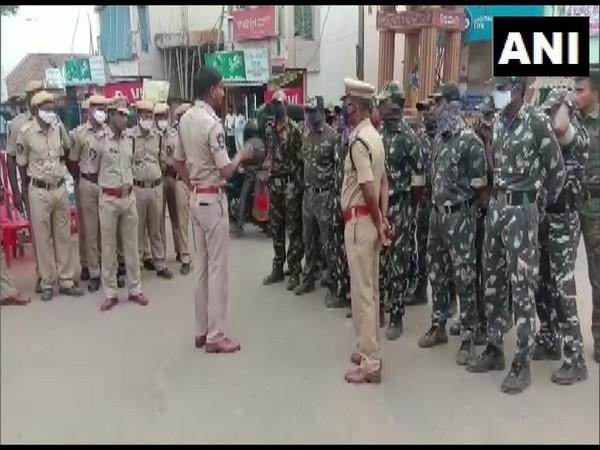 Police deployed at Ramateertham. (Photo/ANI)