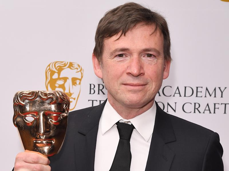 David Nicholls with his Bafta for 'Patrick Melrose'Rex Features