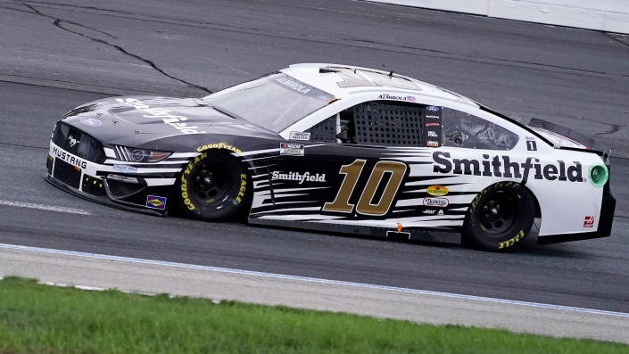 Aric Almirola drives during the NASCAR Cup Series auto race Sunday, July 18, 2021, in Loudon, N.H. (AP Photo/Charles Krupa)