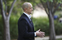 Evan McMullin talks about his campaign to challenge Sen. Mike Lee as an independent candidate for U.S. Senate in Salt Lake City, Tuesday, Oct. 5, 2021. (Jeffrey D. Allred/The Deseret News via AP)