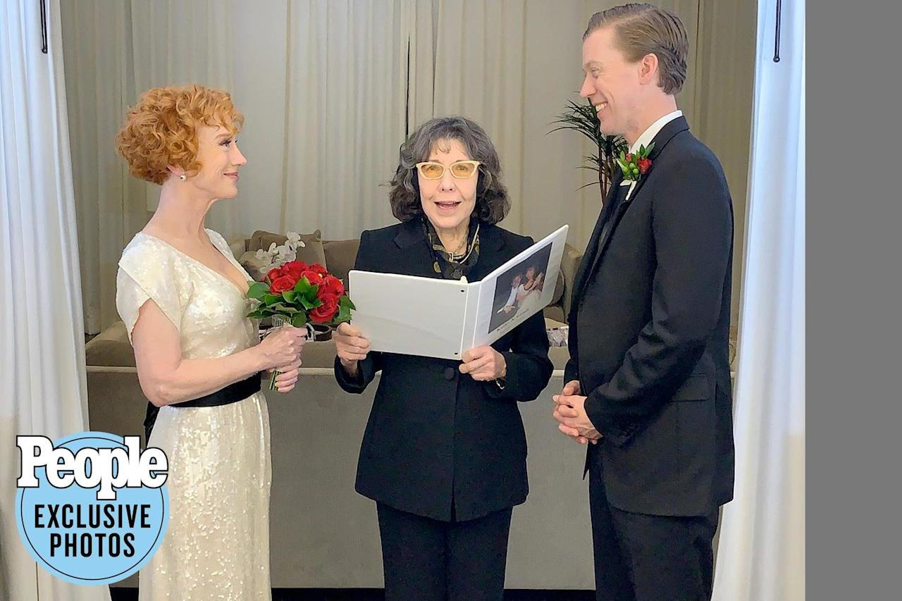"""<strong>""""What was supposed to be a shallow, 'toot it and boot it' one-night stand has grown and flourished into something far more meaningful.""""</strong>  — Lily Tomlin, hilariously <a href=""""https://people.com/tv/kathy-griffin-marries-boyfriend-randy-bick/"""">officiating Kathy Griffin's New Year's wedding</a> to longtime love Randy Bick, in a video on Twitter"""