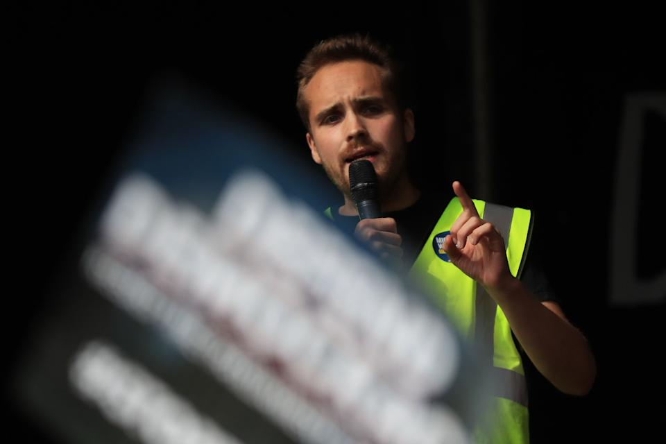 Another Europe is Possible organiser Michael Chessum addressing protesters in central London (Photo: Gareth Fuller - PA Images via Getty Images)