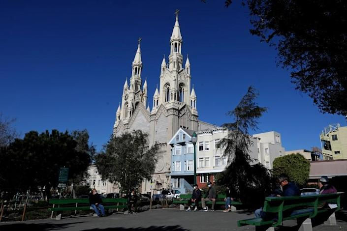 SAN FRANCISCO, CA - FEBRUARY 10: Saints Peter and Paul Church pauses in-person mass after three priests test positive for COVID-19, Wednesday, Feb. 10, 2021 in San Francisco, CA. (Gary Coronado / Los Angeles Times)