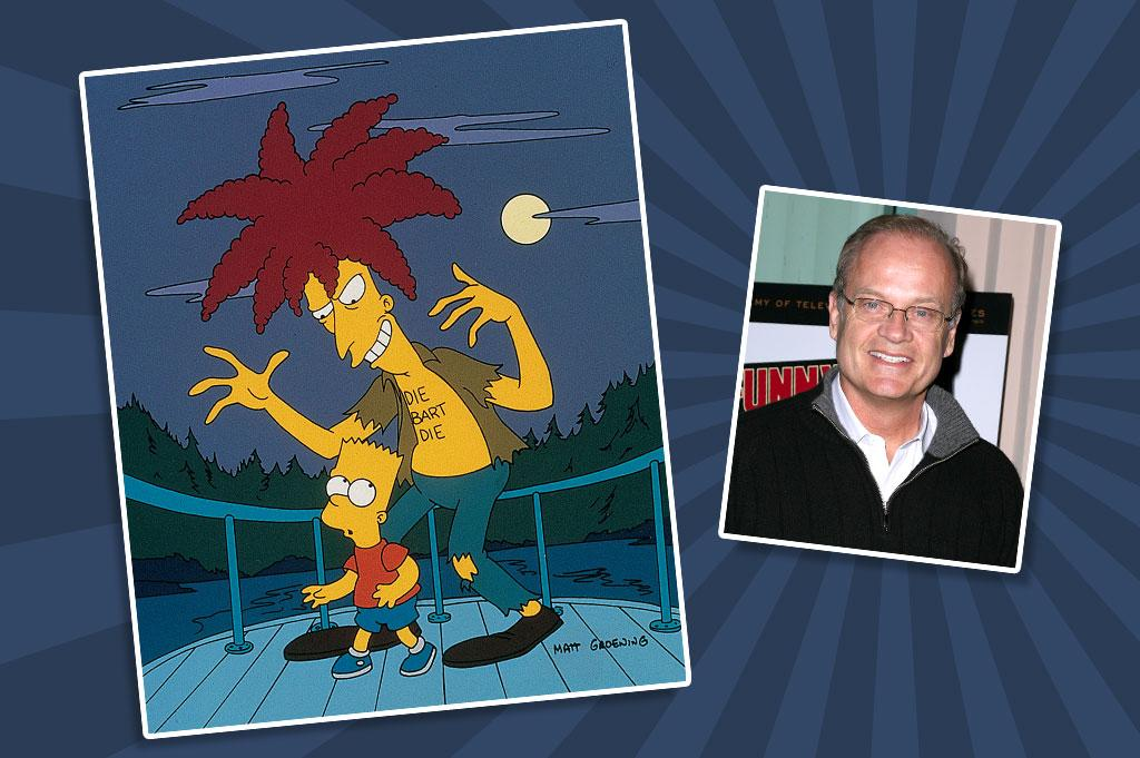 "In a recent interview, former ""Simpsons"" show runner Al Jean called Kelsey Grammer his favorite guest star, and it's easy to see why. In 2005, Grammer even won an Emmy for his work as Sideshow Bob, a criminal psychopath with a genius IQ and refined manner of speaking. In one of his more memorable appearances, Season 5's ""Cape Feare"" (seen here), Bob is paroled from prison and hunts down the Simpson clan, who have been relocated to Terror Lake as part of the Witness Protection Program."