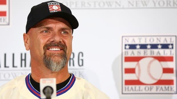Former Expos and Rockies outfielder/first baseman Larry Walker of Maple Ridge, B.C., will formally be inducted into the National Baseball Hall of Fame on Wednesday afternoon in Cooperstown, N.Y. (Mike Stobe/Getty Images/File - image credit)