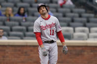 Washington Nationals' Ryan Zimmerman reacts after being struck out during the eighth inning of a baseball game against the New York Mets at Citi Field, Sunday, April 25, 2021, in New York. (AP Photo/Seth Wenig)