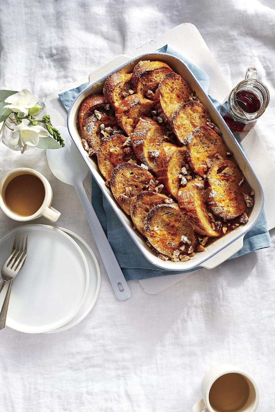 """<p><strong>Recipe: <a href=""""https://www.southernliving.com/recipes/overnight-french-toast-casserole"""" rel=""""nofollow noopener"""" target=""""_blank"""" data-ylk=""""slk:Overnight French Toast Casserole with Bourbon-Maple Syrup"""" class=""""link rapid-noclick-resp"""">Overnight French Toast Casserole with Bourbon-Maple Syrup</a></strong></p> <p>Assemble this decadent casserole the night before and let it sit at room temperature for 10 minutes before popping it in the oven. <br></p>"""