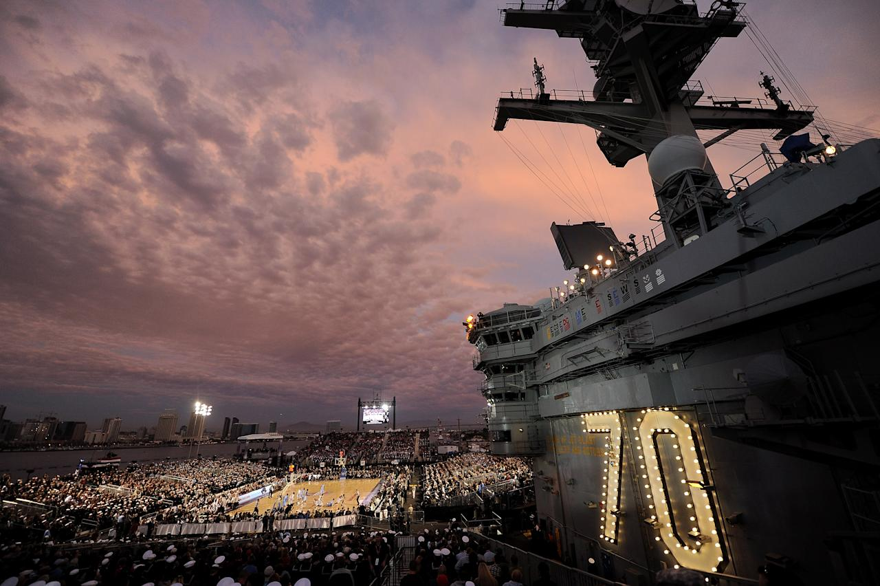 SAN DIEGO, CA - NOVEMBER 11:  A general view as the Michigan State Spartans take on the North Carolina Tar Heels in the first half during the NCAA men's college basketball Carrier Classic aboard the flight deck of the USS Carl Vinson on November 11, 2011 in San Diego, California.  (Photo by Harry How/Getty Images)