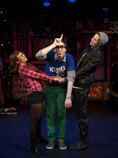 """This March 21, 2013 theater image released by Springer Associates PR shows, from left, Dawn Cantwell, Max Crumm and Jason Gotay during a performance of """"F#%king Up Everything, in New York. (AP Photo/Springer Associates PR, T Charles Erickson)"""