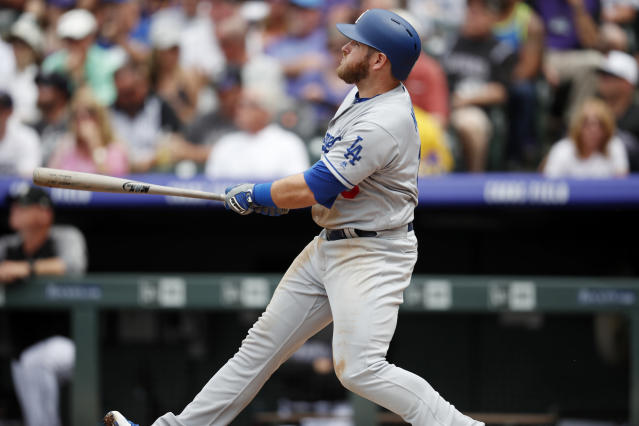 "<a class=""link rapid-noclick-resp"" href=""/mlb/teams/lad"" data-ylk=""slk:Los Angeles Dodgers"">Los Angeles Dodgers</a>' <a class=""link rapid-noclick-resp"" href=""/mlb/players/9606/"" data-ylk=""slk:Max Muncy"">Max Muncy</a> has been a surprise fantasy performer over the past month. (AP Photo/David Zalubowski)"