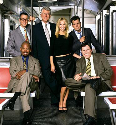 Alan Ruck, Michael Boatman, Barry Bostwick, Heather Locklear, Charlie Sheen and Richard Kind in ABC's Spin City Spin City