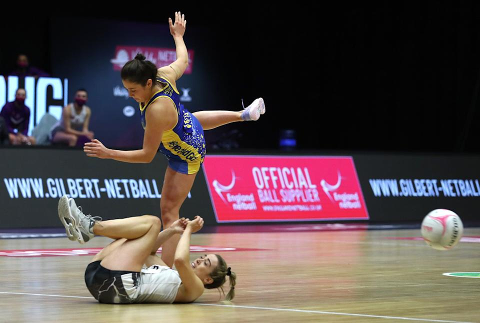 Natalie Panagarry of Loughborough Lightning is floored by Rachel Shaw of Team BathGetty