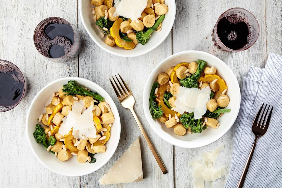 """Tie a piece of kitchen string into a tightrope across your pasta pot, then use the string to """"slice"""" off portions of the tender pumpkin and ricotta dumpling dough so that they fall right into the bubbling pot. Toss the cooked pasta with broccolini, squash, brown butter, and pine nuts to finish. <a href=""""https://www.epicurious.com/recipes/food/views/ricotta-pumpkin-gnocchi-with-brown-butter?mbid=synd_yahoo_rss"""" rel=""""nofollow noopener"""" target=""""_blank"""" data-ylk=""""slk:See recipe."""" class=""""link rapid-noclick-resp"""">See recipe.</a>"""