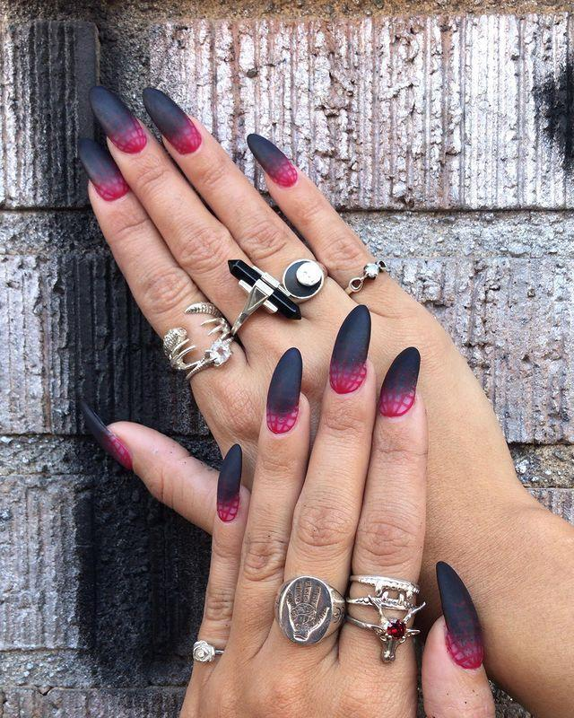 """<p>Vanessa Hudgens spends 11 months out of the year just waiting for October to hit, so of course, before September even ended, she was prepped and ready. In her first post of the spooky season, V shared a set of matte, ombre spider web claws. Honestly, these nails could be a costume all by themselves. </p><p><a href=""""https://www.instagram.com/p/B27VWe0B76J/"""" rel=""""nofollow noopener"""" target=""""_blank"""" data-ylk=""""slk:See the original post on Instagram"""" class=""""link rapid-noclick-resp"""">See the original post on Instagram</a></p>"""