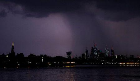 FILE PHOTO: General view of rain over the city of London