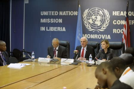Senior U.N. System Coordinator for Ebola, Nabarro talks during a news conference at the U.N. headquarters in Monrovia