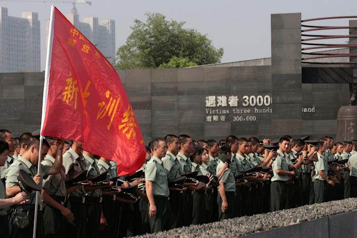 China Chinese Flag People's Liberation Army Soldiers Nanjing Massacre Museum