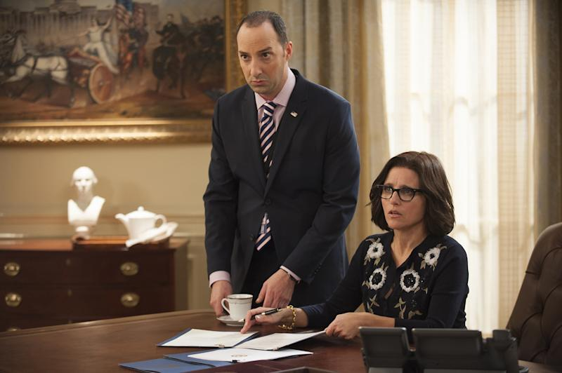 "In this image released by HBO, Tony Hale, left, and Julia Louis-Dreyfus appear in a scene from the comedy series, ""Veep."" (Lacey Terrell/HBO via AP)"