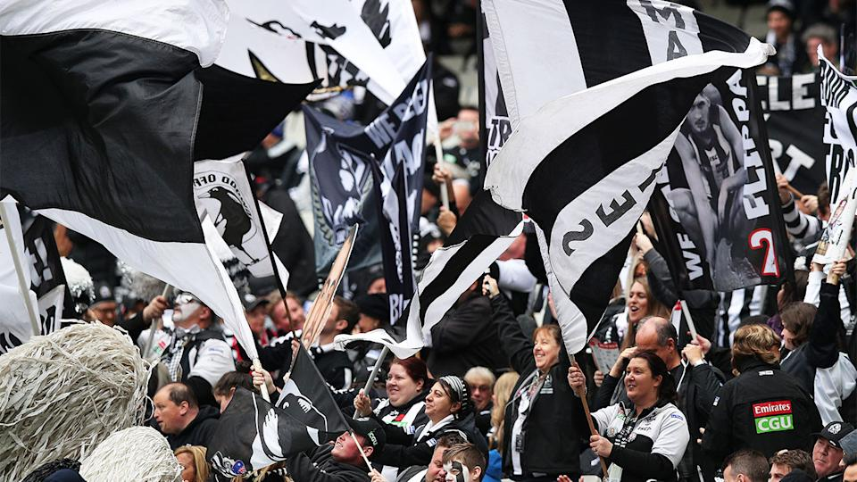 Collingwood fans (pictured) waving flags.
