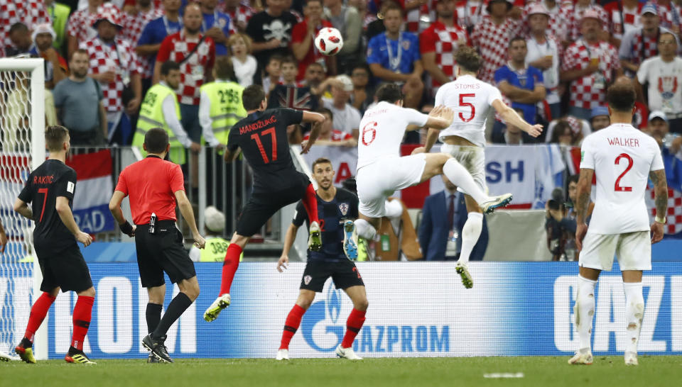 <p>Stones nearly gives England the lead again in extra time </p>