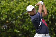 Si Woo Kim, of South Korea, watches his drive from the first tee box during the first round of the Sanderson Farms Championship golf tournament in Jackson, Miss., Thursday, Sept. 30, 2021. (AP Photo/Rogelio V. Solis)