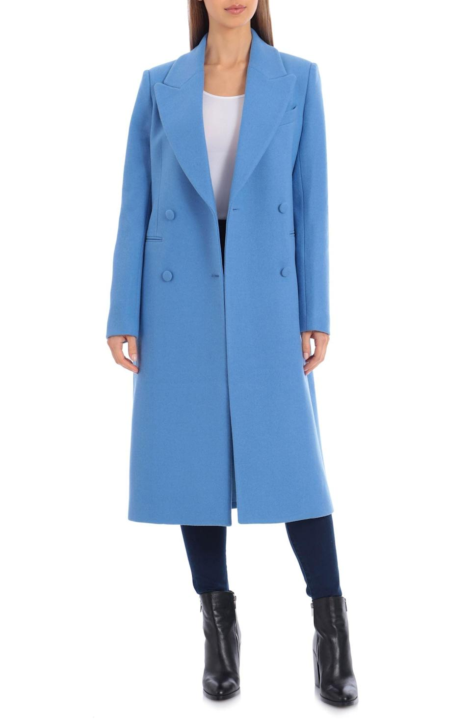<p>Make a statement in this blue <span>Avec Les Filles Double Breasted Wool Blend Coat</span> ($335).</p>