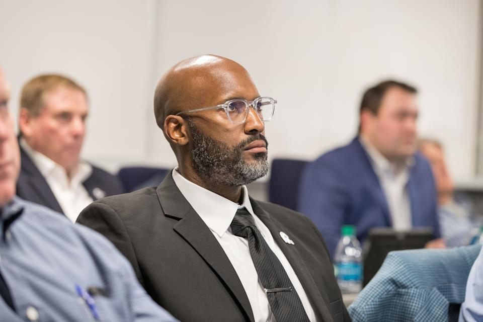 Brad Holmes of the Los Angeles Rams during the third round of the NFL Draft from the Rams War Room, Friday, April 27, 2018, in Thousand Oaks, CA. (Rams)