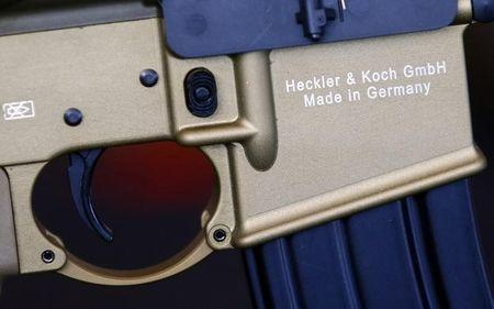 A HK417 assault rifle manufactured by Heckler & Koch is pictured during a guided media tour at arms factory Heckler & Koch in Oberndorf, 80 kilometers southwest of Stuttgart, Germany, May 8, 2015. REUTERS/Ralph Orlowski