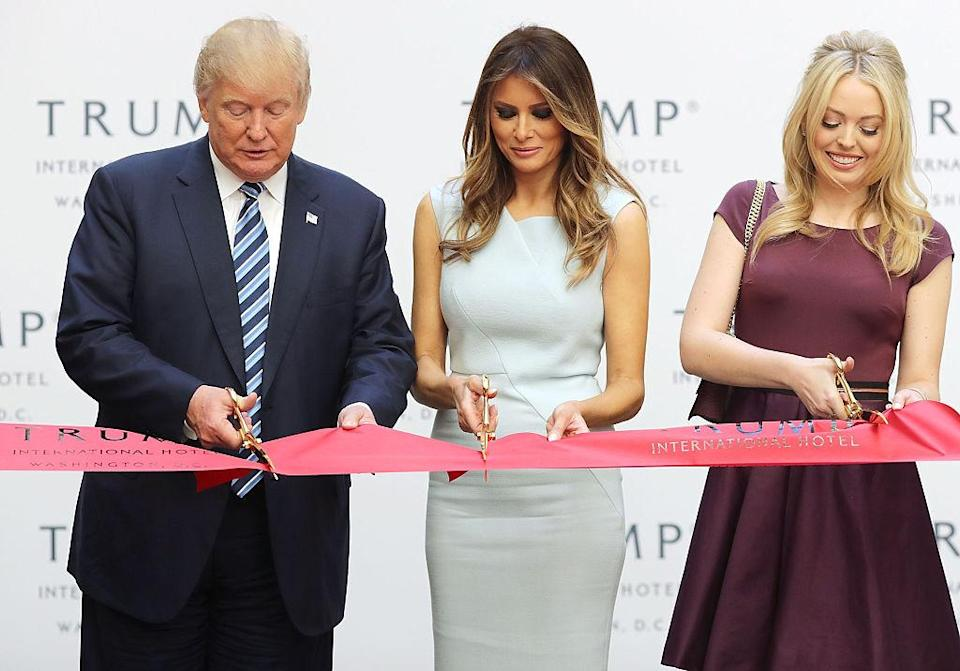 <p>Rocking a plum A-line dress during a ribbon cutting ceremony at the new Trump International Hotel in Washington, D.C. <i> (Photo: Getty) </i> </p>