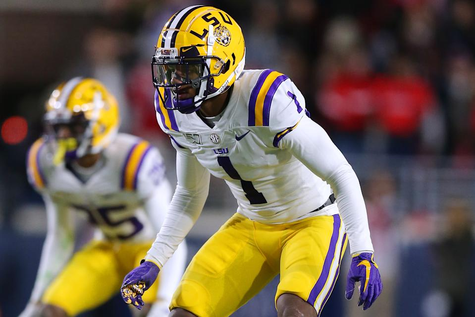 LSU cornerback Kristian Fulton waits for the snap against the Mississippi Rebels on Nov. 16, 2019 in Oxford, Mississippi. (Photo by Jonathan Bachman/Getty Images)