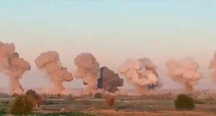 Forty tonnes of laser-guided explosives were used in the attack (US Air Force)