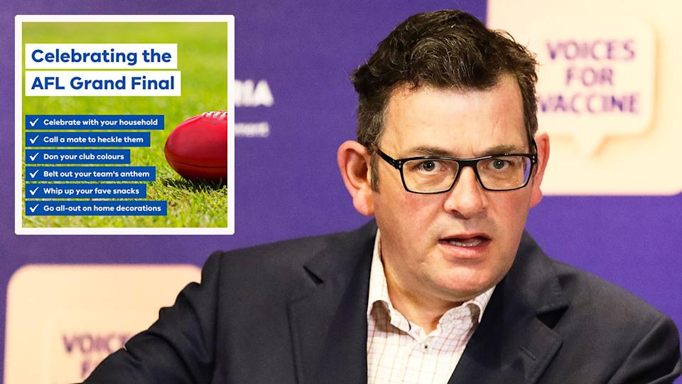 Seen here, Victorian Premier Daniel Andrew and the state's Covid-safe message for footy fans.