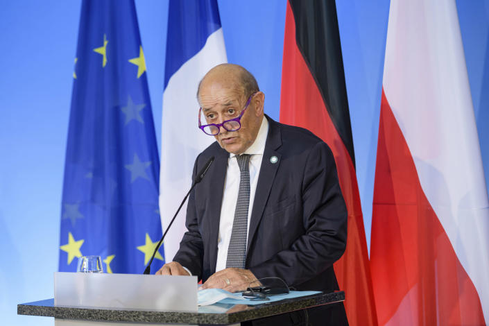 Image: French Foreign Minister Jean-Yves Le Drian (Jens Schlueter / Pool via AP)