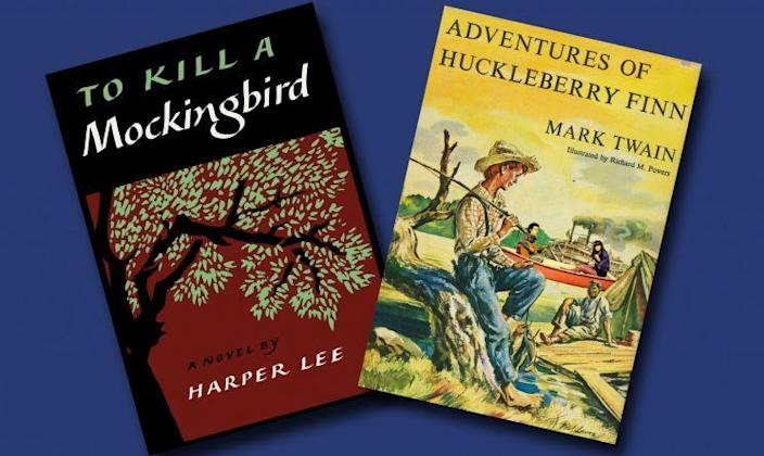 """""""To Kill a Mockingbird"""" by Harper Lee and """"Adventures of Huckleberry Finn"""" by Mark Twain are among the most challenged books in U.S. history. (Photo combination: Yahoo News)"""