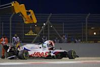 Mazepin steps out of his Haas after crashing on his debut in Bahrain