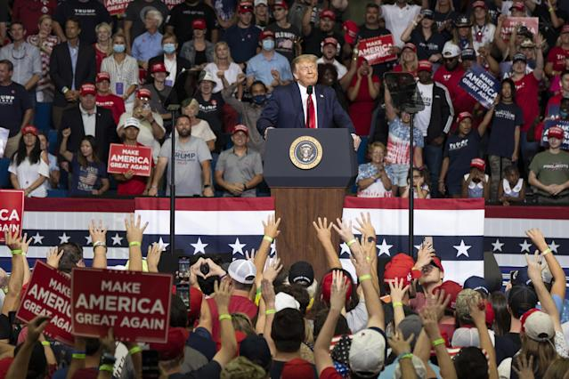 Trump at a recent campaign rally in Tulsa, Okla. (Go Nakamura/Bloomberg via Getty Images)