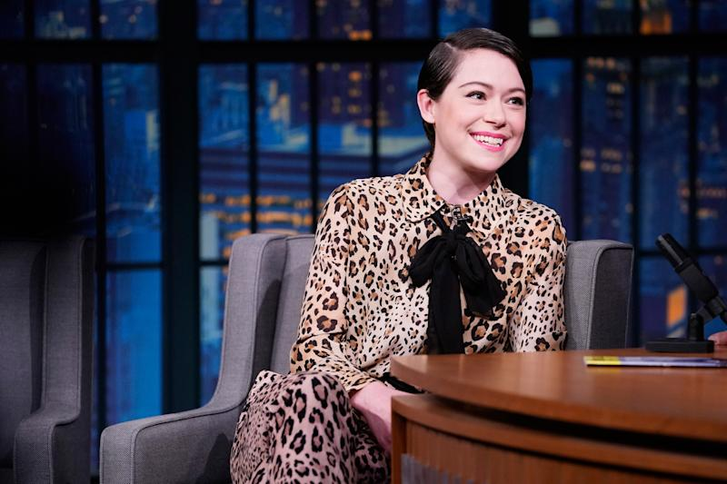 Tatiana Maslany on 'Late Night with Seth Meyers' on February 18, 2019. (Photo by: Lloyd Bishop/NBCU Photo Bank/NBCUniversal via Getty Images)