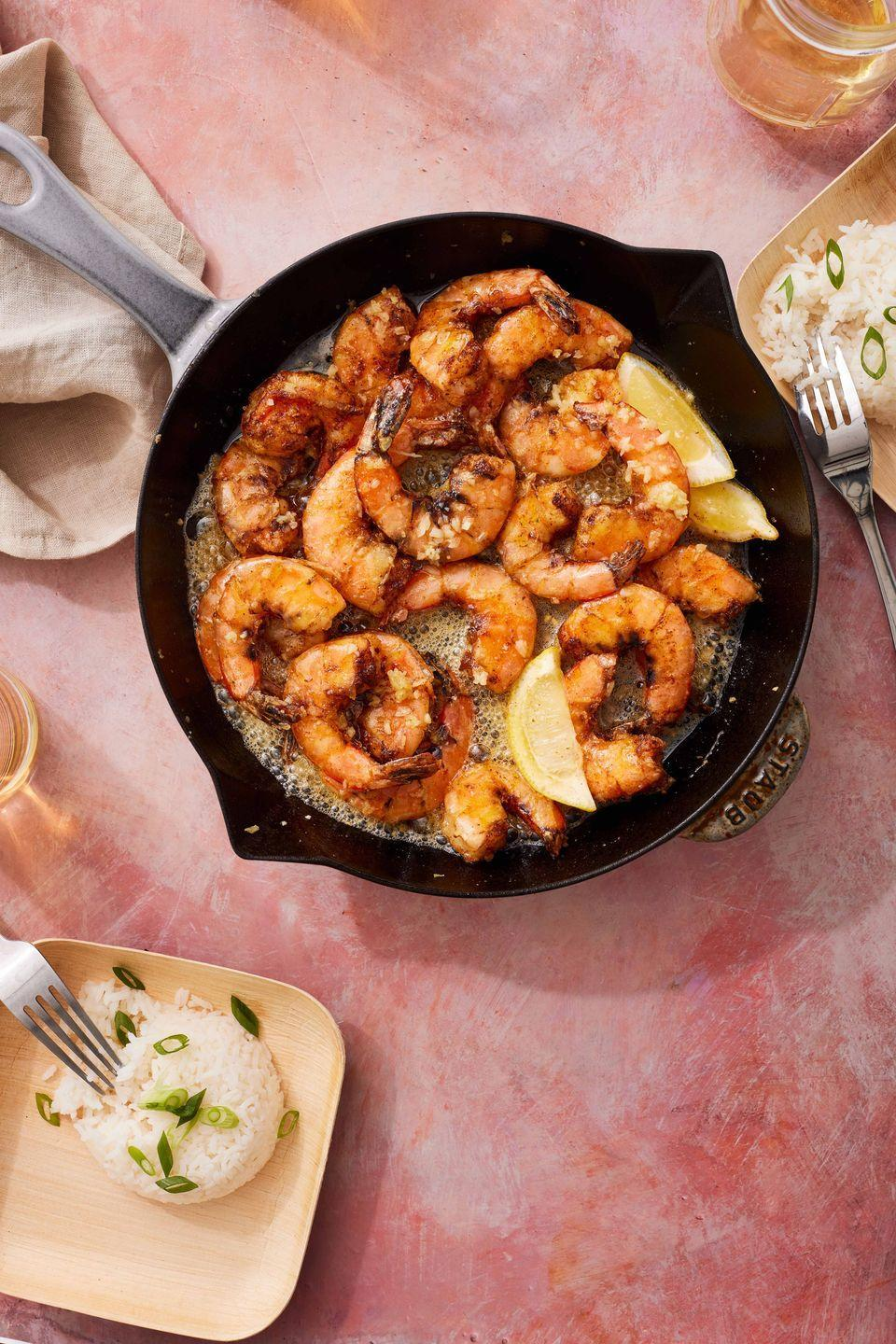 """<p>Tossing the shrimp in rice flour helps them take on a delicately crunchy texture, but all-purpose flour will work in a pinch.</p><p>Get the recipe from <a href=""""https://www.delish.com/cooking/recipe-ideas/a37418587/hawaiian-garlic-shrimp-recipe/"""" rel=""""nofollow noopener"""" target=""""_blank"""" data-ylk=""""slk:Delish"""" class=""""link rapid-noclick-resp"""">Delish</a>.</p>"""