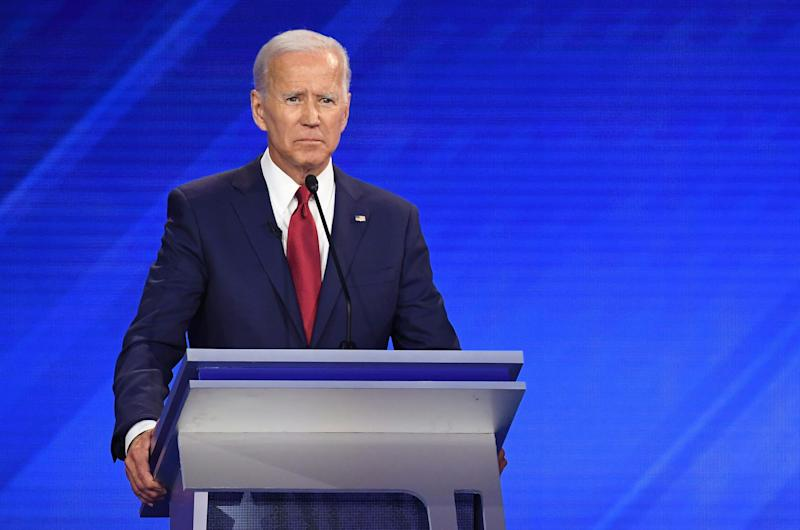 Joe Biden at the Democratic primary debate in Houston. (Photo: Robyn Beck/AFP/Getty Images)