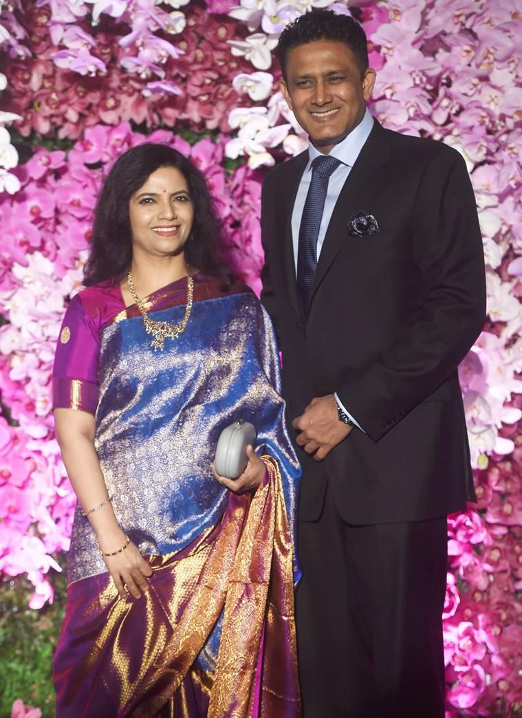 Anil Kumble and his wife Chethana Ramatheertha at the wedding reception of Akash Ambani and Shloka in Mumbai