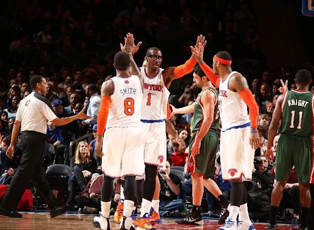 NEW YORK, NY - MARCH 15: New York Knicks players react agains the Milwaukee Bucks during a game at Madison Square Garden in New York City. (Photo by Nathaniel S. Butler/NBAE via Getty Images)
