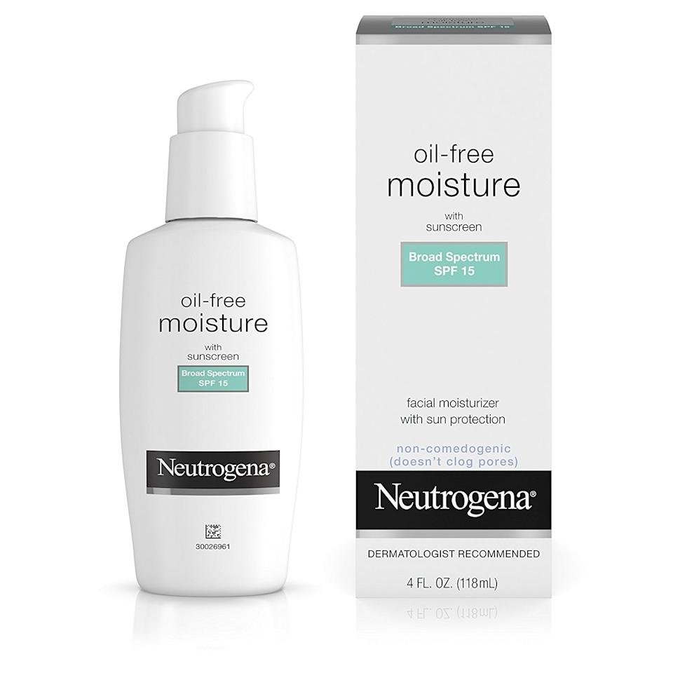 """<p>When in doubt, go to the drugstore to nab this classic. It's no-frills, but it doesn't need to do any fancy tricks to impress —rather, it hydrates skin all day with a lightweight, nourishing formula. Plus, it comes in four different varieties, so no matter your skin concerns, there's an option for you.</p> <p>$11.99 (<a rel=""""nofollow"""" href=""""http://www.ulta.com/oil-free-moisturizer-spf-35?productId=xlsImpprod2420405"""" rel=""""nofollow"""">ulta.com</a>)</p>"""