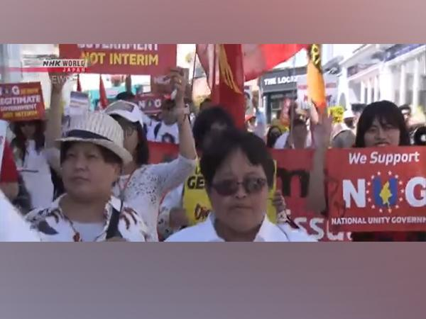 Protest at G7 Cornwall summit calling to act on Myanmar democracy (Photo Credit - NHK World)