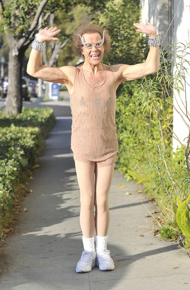 "When discussing celebs in shockingly awful shorts, one must not ignore the fashion faux pas of fitness fanatic Richard Simmons. This week, the star of ""Sweatin' to the Oldies"" paired his rhinestone-encrusted, nude-hued getup with spiked cuffs, pantyhose, and sparkly glasses. (8/2/2012)<br><br><a target=""_blank"" href=""http://twitter.com/YahooOmg"">Follow omg! on Twitter!</a>"