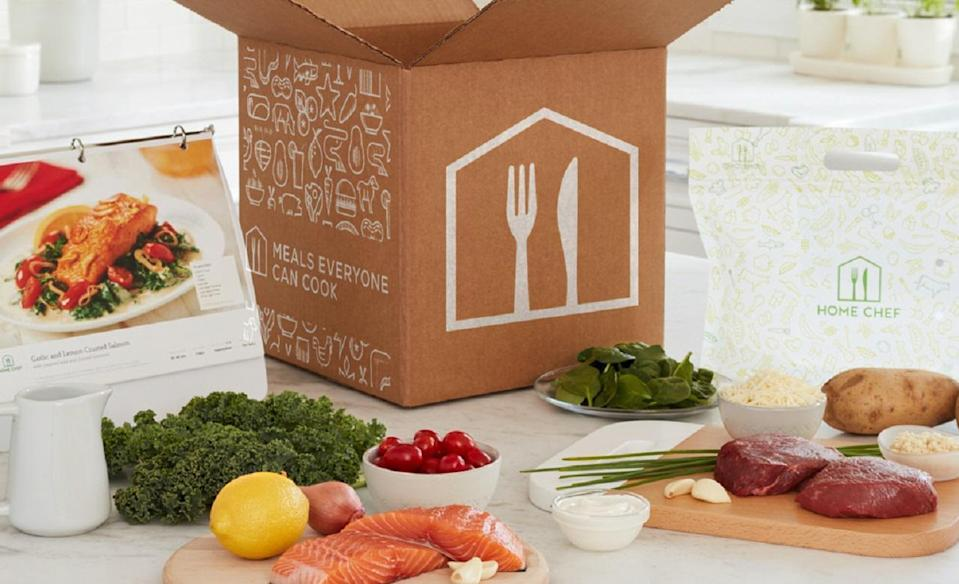 """<p>Home Chef prides itself on keeping things simple — that's literally the company's slogan. The service's meal kits start at $49.95, which includes shipping and two recipes per week, each of which serves two people. But Home Chef also has kits that come with up to six recipes and has some meals that can serve up to six people.</p> <p>Although Home Chef doesn't have specific meal plans for people with different dietary needs, the site does give customers the option to list their preferences before signing up. Customers can specify if they're vegetarian, or if they want to avoid certain foods, limit their carb or calorie intake and more. There are 13 recipes to choose from each week, and several of them are typically vegetarian. HomeChef also has """"easy prep meal kits"""" that require minimal preparation.</p> <p><a href=""""https://www.thedailymeal.com/cook/home-chef-meal-kit?referrer=yahoo&category=beauty_food&include_utm=1&utm_medium=referral&utm_source=yahoo&utm_campaign=feed"""" rel=""""nofollow noopener"""" target=""""_blank"""" data-ylk=""""slk:For the full Home Chef review, click here."""" class=""""link rapid-noclick-resp"""">For the full Home Chef review, click here.</a></p>"""