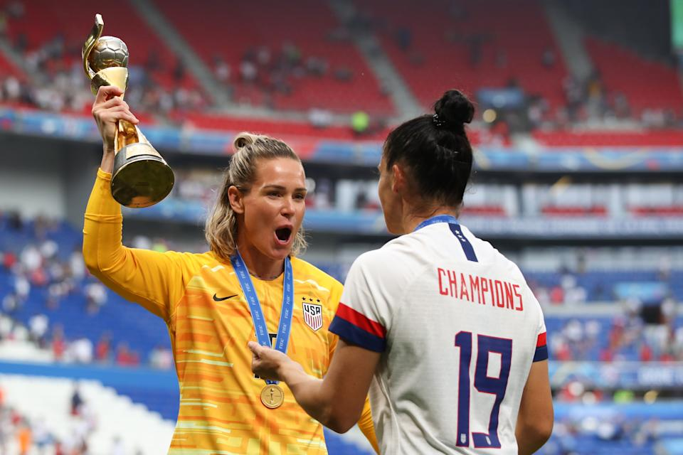 Ashlyn Harris and Ali Kriger won the World Cup together for a second time last summer in France. (Photo by Marc Atkins/Getty Images)