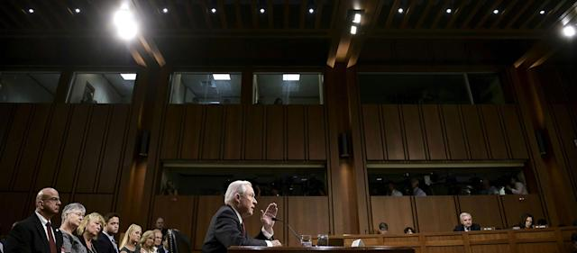 <p>Attorney General Jeff Sessions testifies during a US Senate Select Committee on Intelligence hearing on Capitol Hill in Washington, DC, June 13, 2017. (Photo: Brendan Smialowski/AFP/Getty Images) </p>