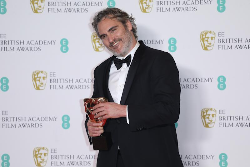 LONDON, ENGLAND - FEBRUARY 02: Joaquin Phoenix poses in the Winners Room during the EE British Academy Film Awards 2020 at Royal Albert Hall on February 02, 2020 in London, England. (Photo by Lia Toby/Getty Images)